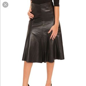 Leather Fit n Flare skirt